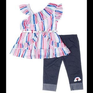 Little Lass Matching Sets - Little Lass Asymmetrical Top & Capri Jeggings